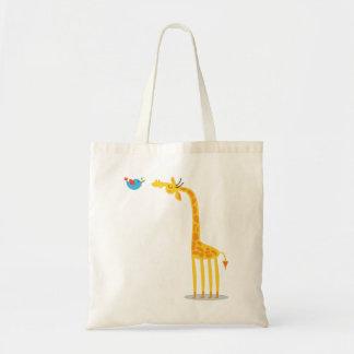 Girafa bonito e pássaro dos desenhos animados sacola tote budget