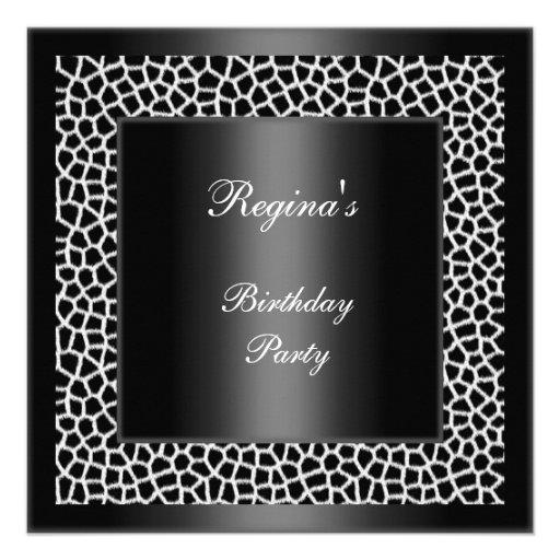 Girafa branco preto da festa de aniversário convites