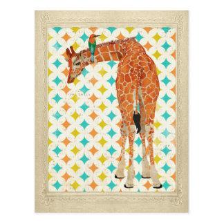 Girafa & cartão pequeno do pássaro cartão postal