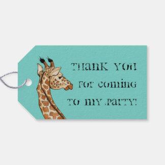 girafa com fundo da cerceta etiqueta para presente