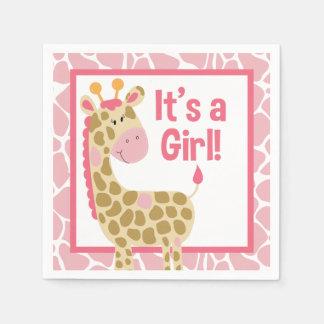 Girafa cor-de-rosa é guardanapo de um chá de