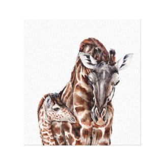 Girafa da mãe com canvas do girafa do bebê