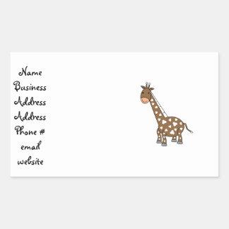 Girafa de Brown Adesivo Em Forma Retangular