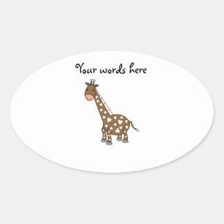 Girafa de Brown Adesivos Em Formato Ovais