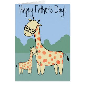 Girafa - dia dos pais feliz cartão comemorativo