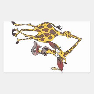 girafa divertido com brinco moveu adesivo retangular
