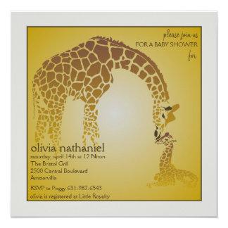 Girafa do bebê da mãe - convite do chá de fraldas