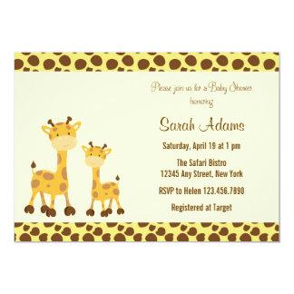 Girafa do bebê do convite do chá de fraldas do