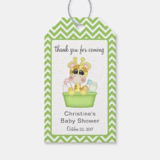 Girafa do bebê no obrigado que do tempo do banho