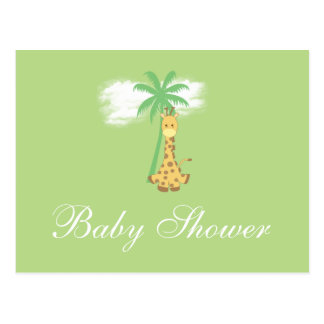 Girafa do chá de fraldas em convites verdes cartão postal