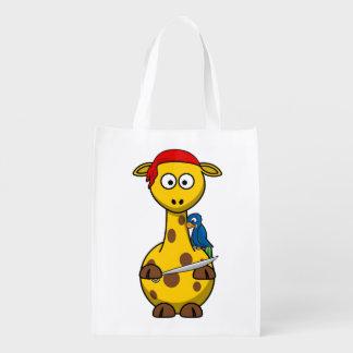 Girafa do pirata sacola reusável