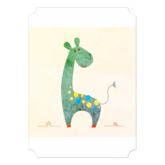 Girafa do vintage: cumprimento do partido dos convite 12.7 x 17.78cm