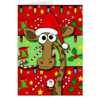 Girafa do Xmas - colorido Cartão Comemorativo