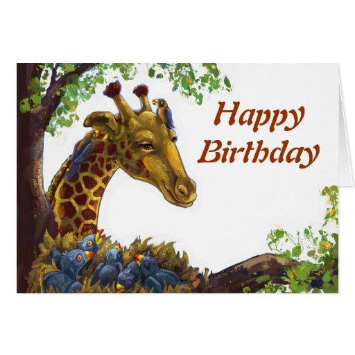 Girafa e cartão do feliz aniversario de Oxpecker