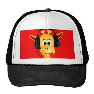 girafa engraçado com estilo cómico dos fones de ou bonés