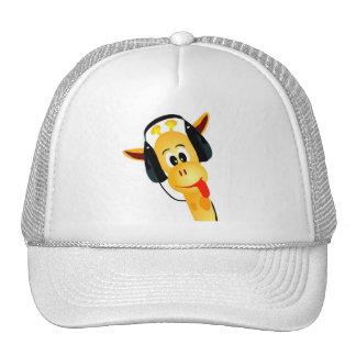 girafa engraçado com fones de ouvido boné
