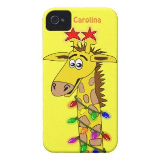 Girafa engraçado com Natal lunático das luzes Capas Para iPhone 4 Case-Mate