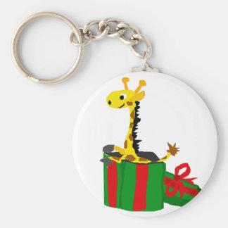 Girafa engraçado na caixa do presente de Natal Chaveiro