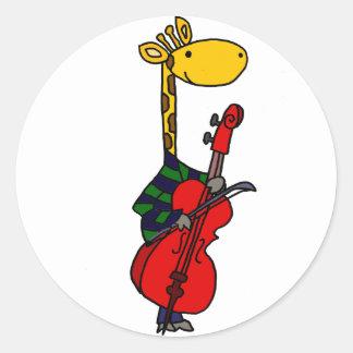Girafa engraçado que joga a arte do violoncelo adesivo redondo