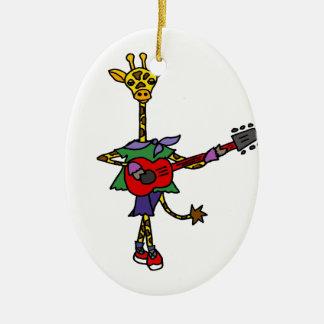 Girafa engraçado que joga a guitarra vermelha ornamento de cerâmica
