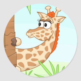 Girafa escondendo adesivo em formato redondo