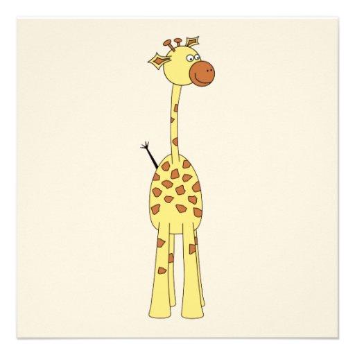 Girafa feliz. Desenhos animados Convites Personalizado