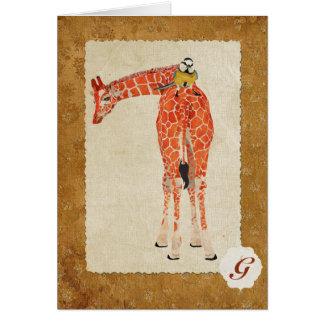 Girafa & monograma pequeno Notecard do pássaro Cartão De Nota
