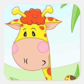 Girafa na grama adesivo quadrado