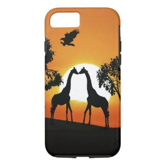 Girafa no por do sol capa iPhone 7