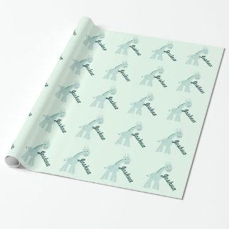 Girafa personalizado da hortelã papel de presente