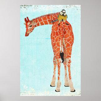Girafa & poster pequeno da arte do pássaro