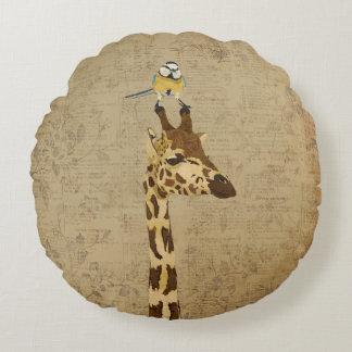 Girafa & pouco travesseiro do pássaro do ouro almofada redonda