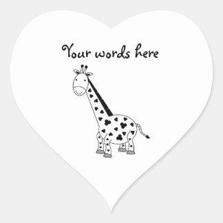 Girafa preto e branco adesivos em forma de corações