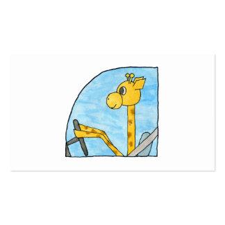 Girafa que conduz um carro modelo cartões de visita