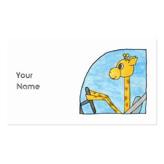 Girafa que conduz um carro cartões de visita