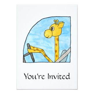 Girafa que conduz um carro convite personalizados