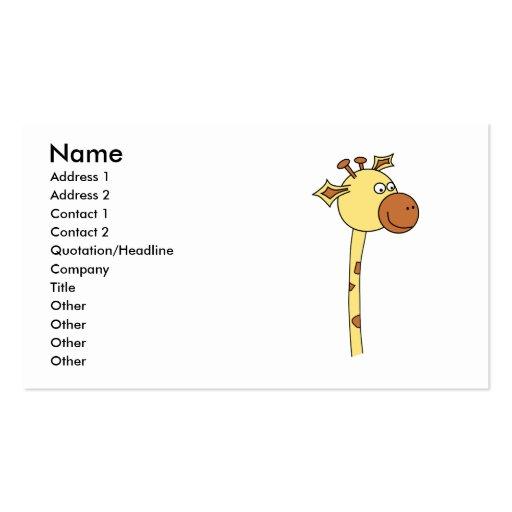 Girafa que olha lateralmente. Desenhos animados Modelos Cartões De Visita