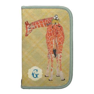 Girafa rickshaw pequeno do Planner do monograma Agenda