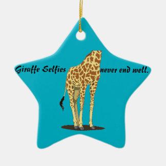 Girafa Selfies Ornamento De Cerâmica Estrela