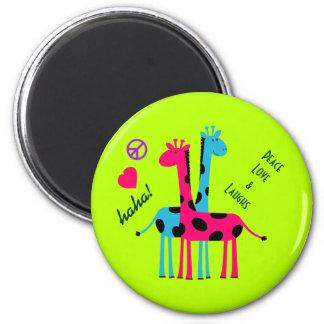 Girafas bonitos dos desenhos animados, amor da paz ímã redondo 5.08cm