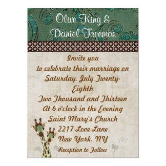 Girafas da cerceta & do cobre que Wedding o Convite