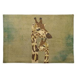 Girafas de bronze dourados Placemat Suporte Para Pratos