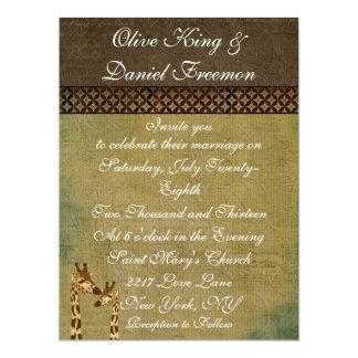 Girafas de bronze dourados que Wedding o convite