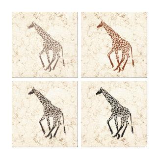 Girafas de mármore do falso de creme impressão em canvas
