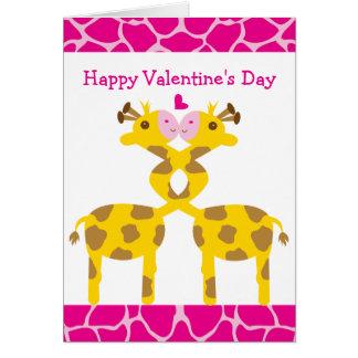 Girafas doces no dia dos namorados feliz do rosa cartão comemorativo
