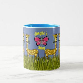 Caneca De Café Em Dois Tons Girafas e a caneca da borboleta