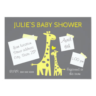 Giraffe baby shower invitation convite 12.7 x 17.78cm