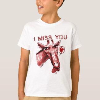giraffe_miss you_red camiseta