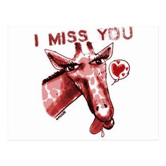 giraffe_miss you_red cartão postal
