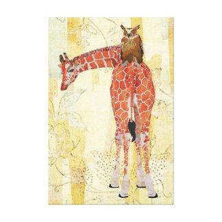 Giraffe & Owl Canvas Canvas Print